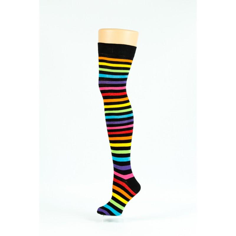 Flirt | Overknee sokken gestreept zwart regenboog