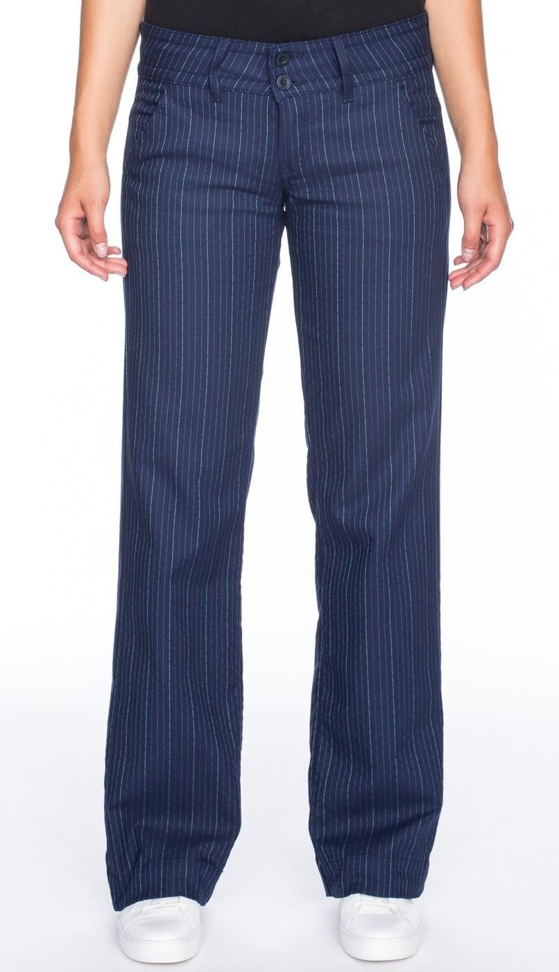 Pantalon Lilia, blauw met groen krijtstreepje