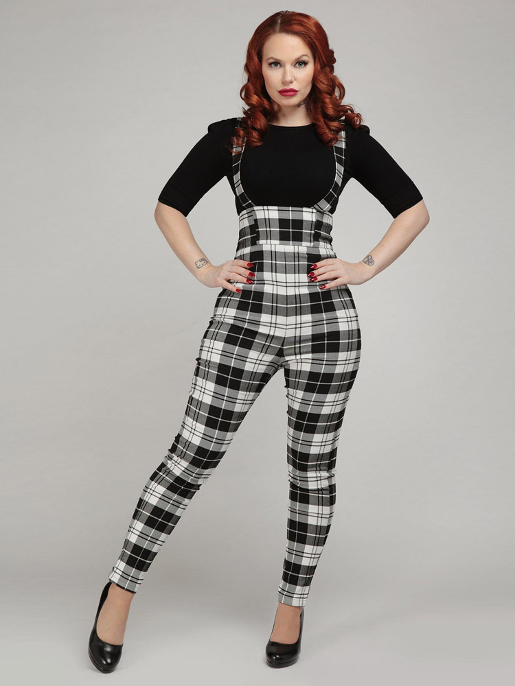 Collectif | High-waisted broek Karen Monochrome met bretels