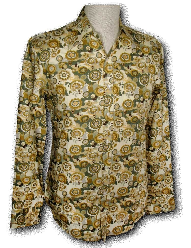 Overhemd Seventies Outlined Flowers green