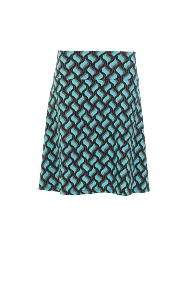 Rok a-lijn Lolly, zwart turquoise retroprint