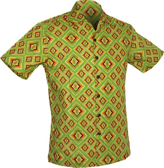 Chenaski - Overhemd korte mouw, Rhombus, light green