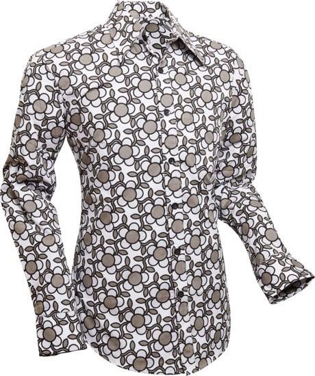 Overhemd Seventies Flowergrid, grey