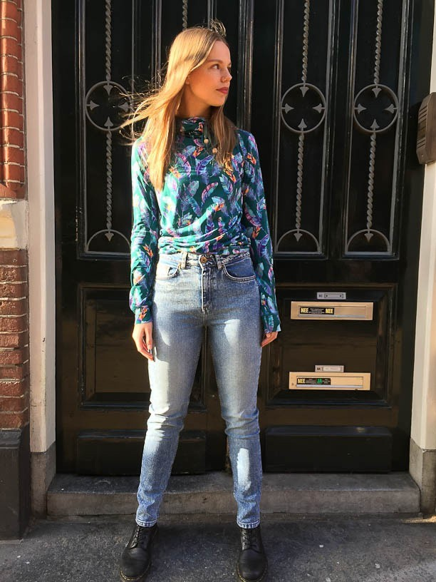 Ato Berlin - Taille hoge jeans Khloe, met lichte used wassing