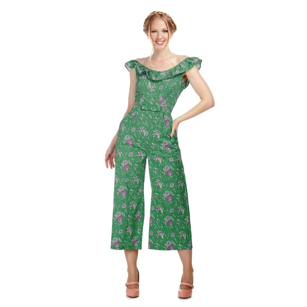 Jumpsuit Emma, Clashing Floral, groen roze