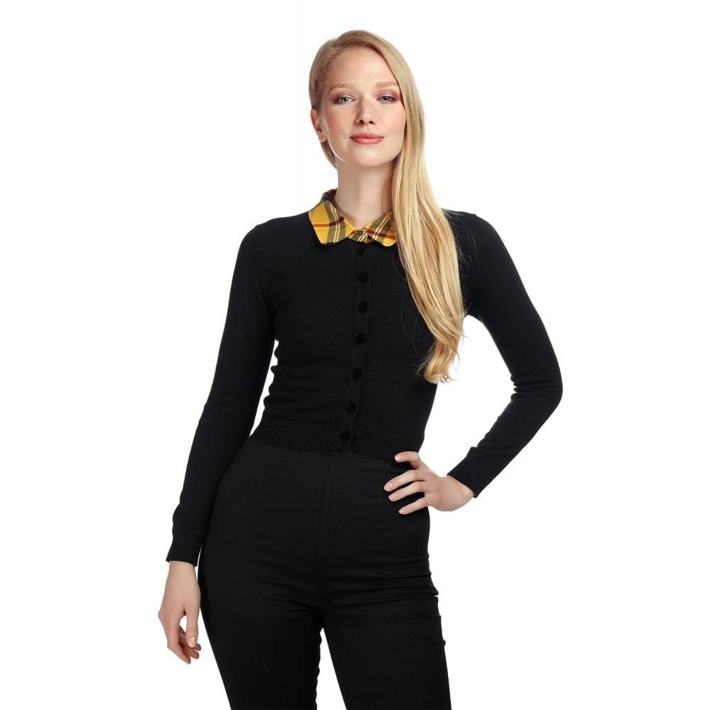Cardigan Millicent Clueless, zwart met gele tartan kraag