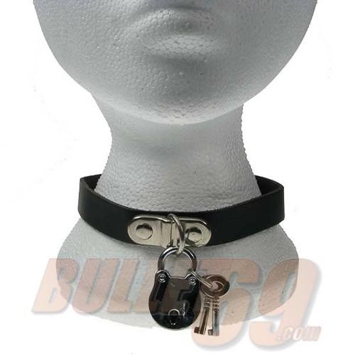 Leren halsband, 18mm - zwart met nikkel D-ring en padlock met sleutel