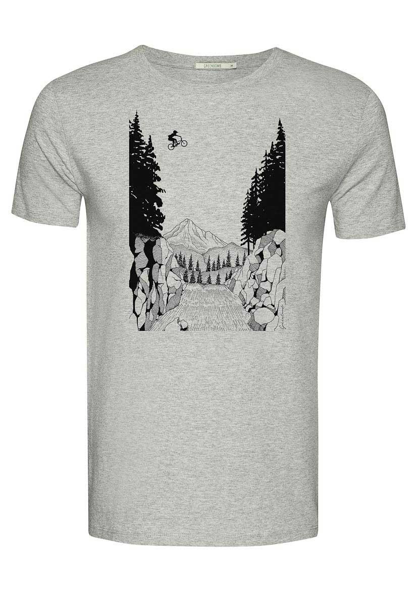 Green Bomb | T-shirt Bike Jump, bio katoen heather grey