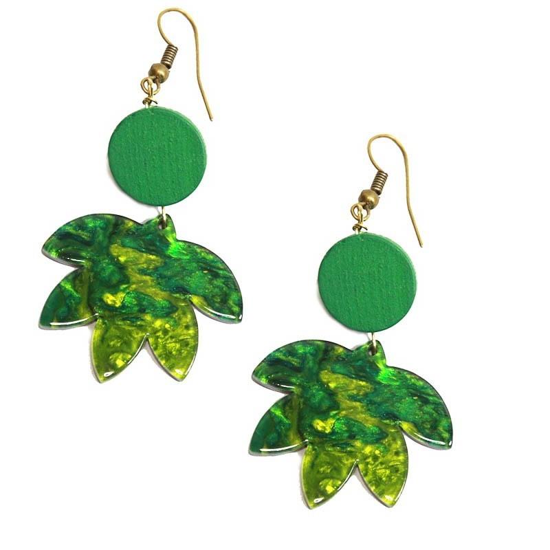 Miranda's Choice - Oorbellen groene palmbladeren