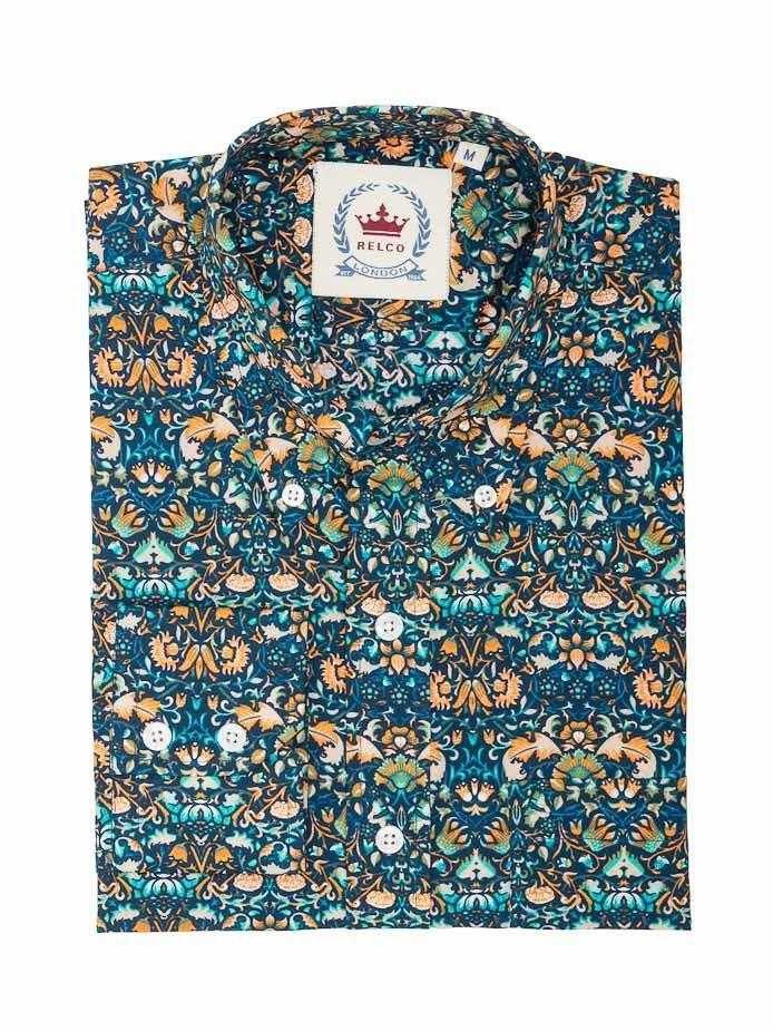 Overhemd met lange mouw, blauw met bloemen patroon