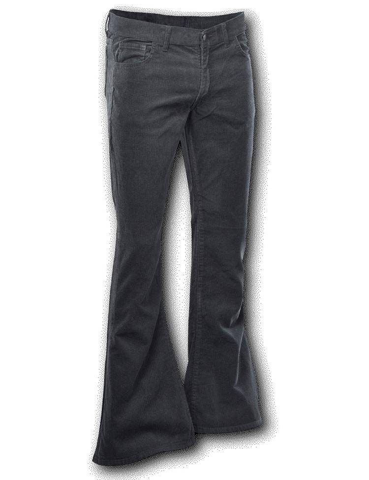 Ribcord broek wijdepijp lang Zwart
