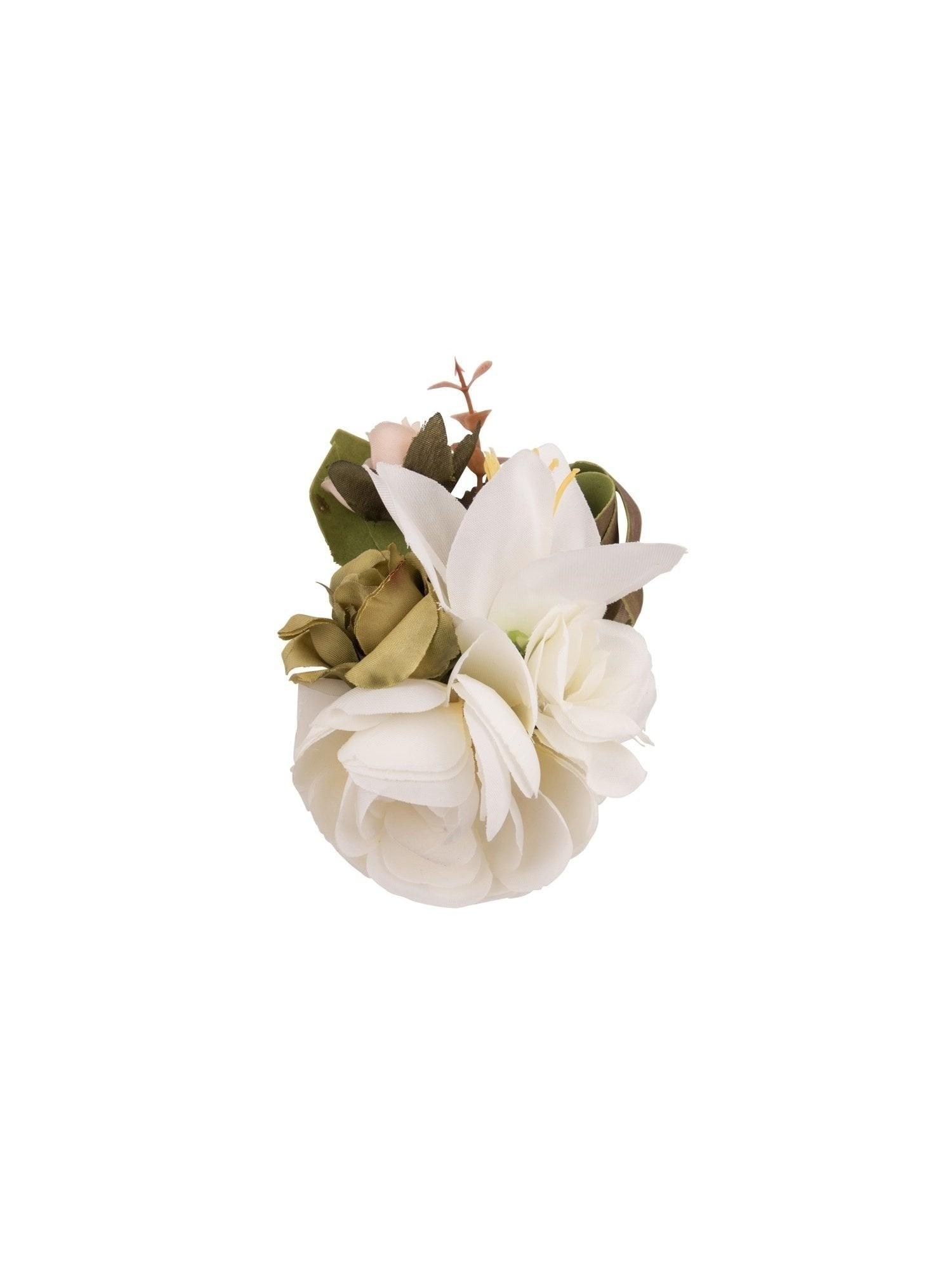 Haarclip/broche, met witte bloemen