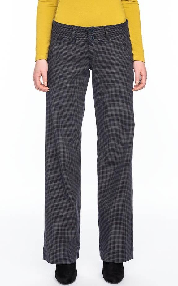 Pantalon Lilia, blauw bruin geruite blokjes