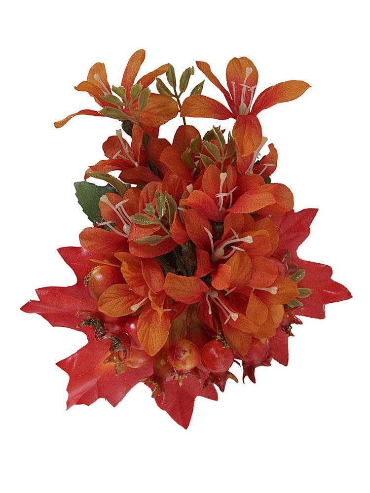 Collectif, haarbloem en broche Lucille, oranje bloem