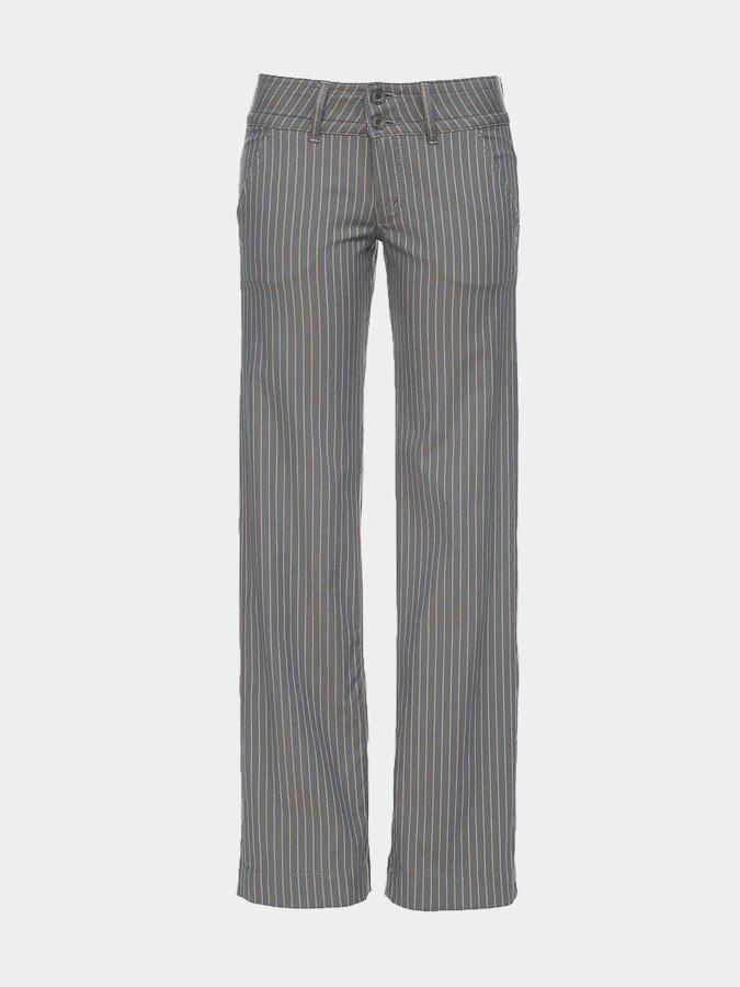 ATO Berlin | Pantalon Lilia blauw met bruine krijtstreep