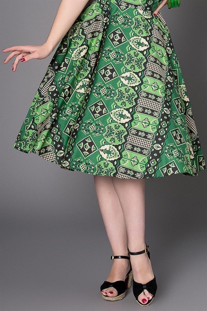 Rok Una, groene 50's vintage print