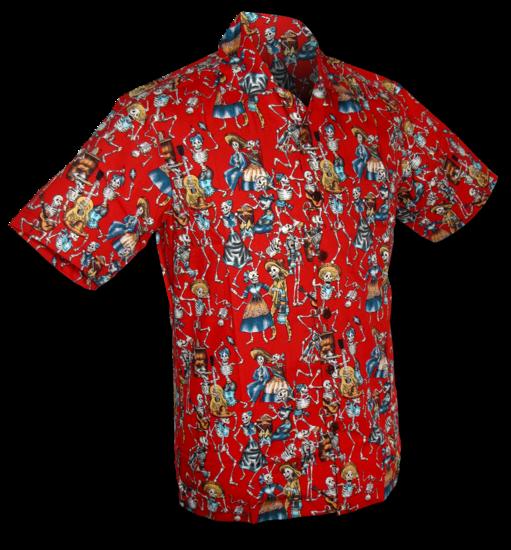 Overhemd korte mouw Dance of the Dead, rood
