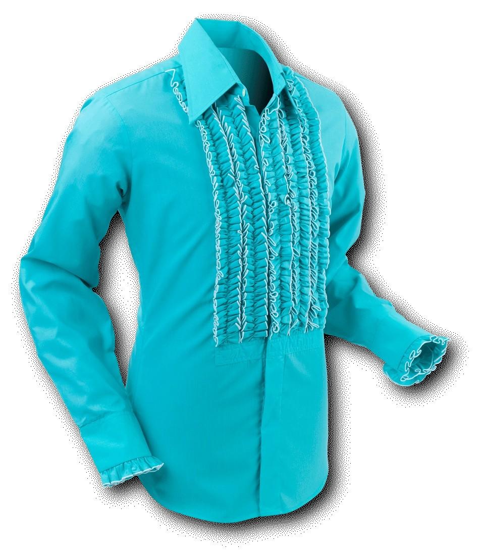 Chenaski | Overhemd ruche, turquoise white trim