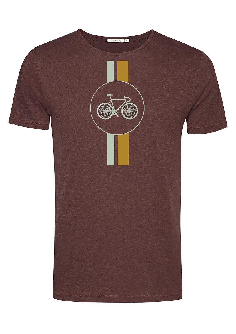 Green Bomb | T-shirt Bike Highway, dark chocolate bio katoen