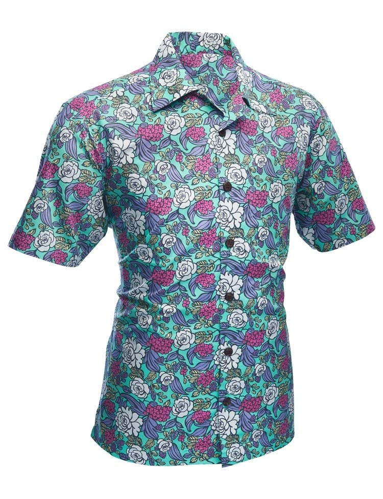 Overhemd korte mouw Surfer Flowers turquoise
