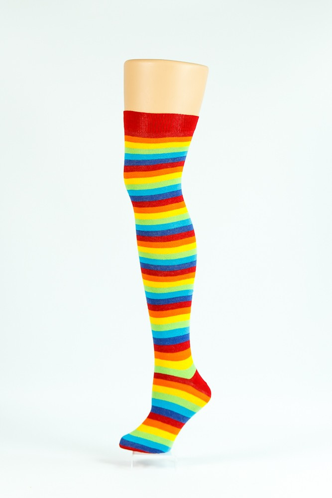 Flirt | Overknee sokken gestreept regenboog