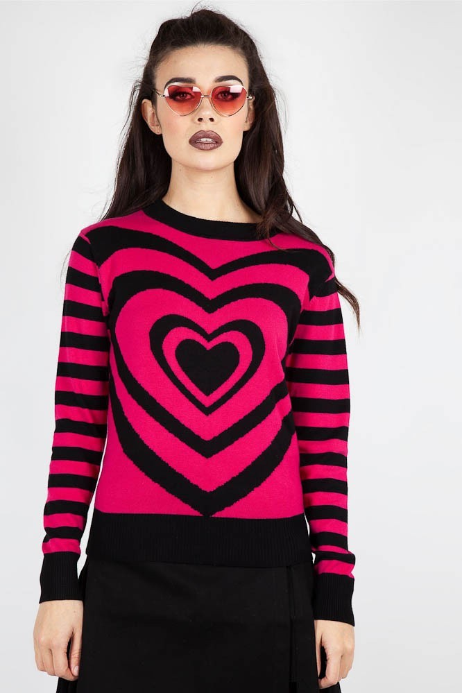 Trui Mojo, hartprint, roze zwart