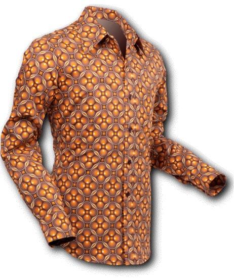 Overhemd Seventies Dotsgrid Brown Brown