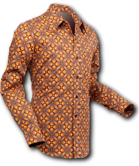 Chenaski | overhemd Seventies Dotsgrid Brown Brown