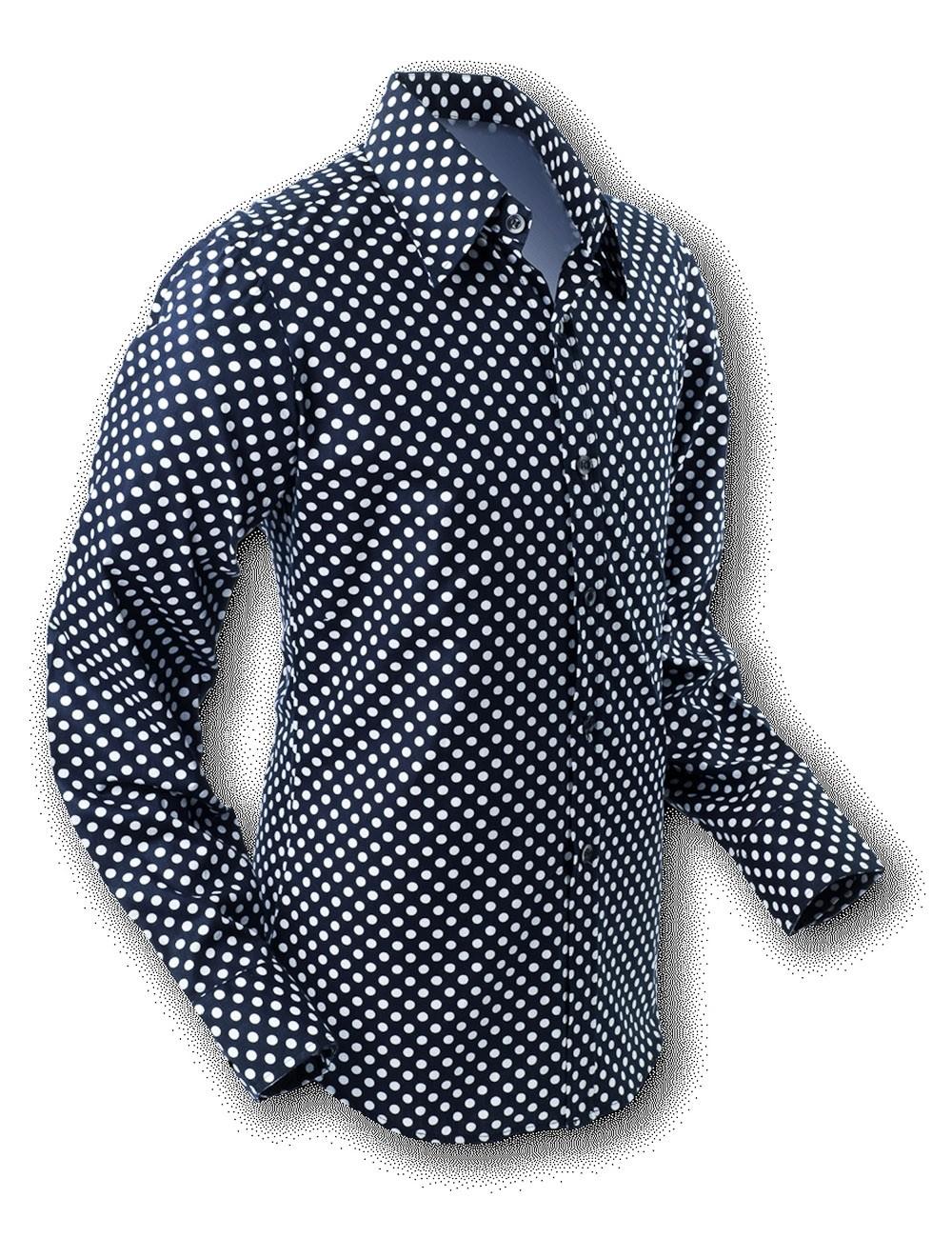 Overhemd Seventies Polka Dot Black White
