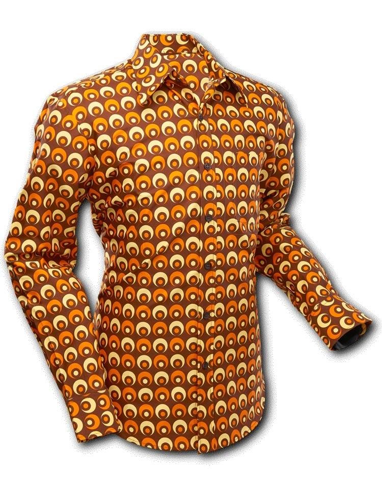 Overhemd Retro Eyeball Bruin Oranje Geel