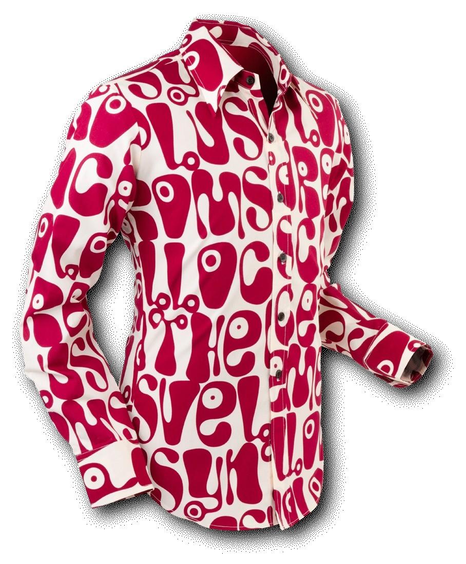 Overhemd Seventies Moloko Creme Bordeaux