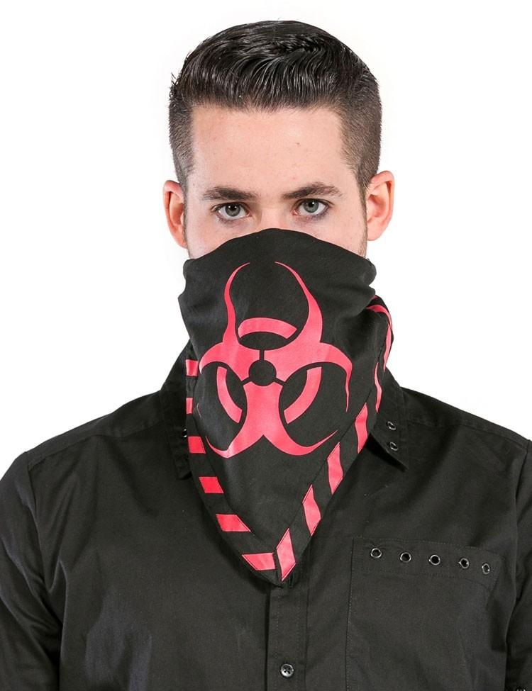 Bandana met Rode Biohazard Symbolen