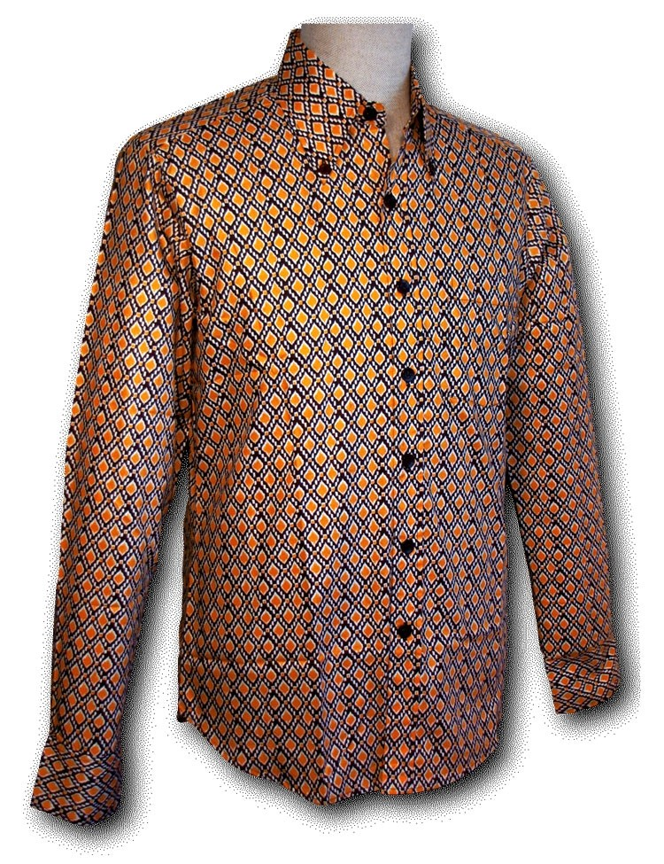 Overhemd Button Down Check Yellow Brown