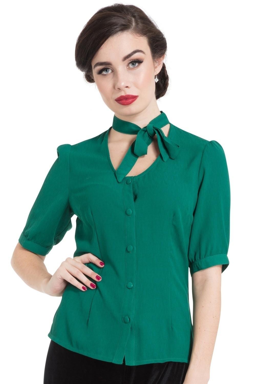 Blouse Clara groen met strik