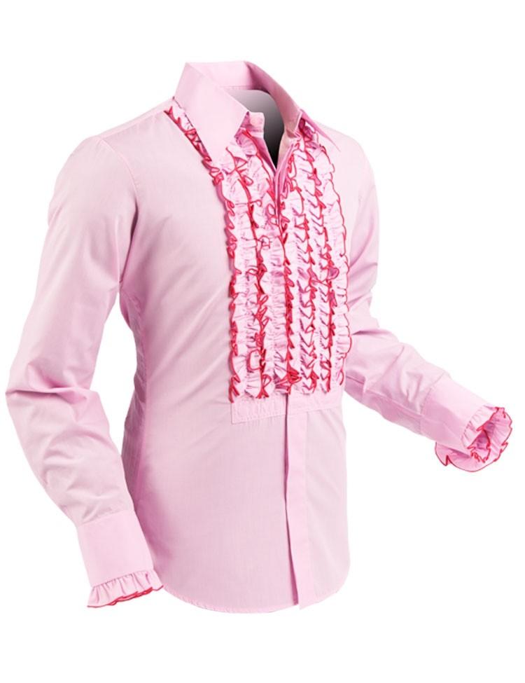 Chenaski | Overhemd ruche rose pink dark pink trim