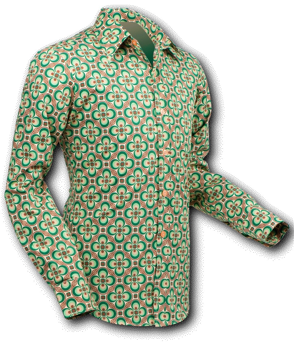 Overhemd Seventies Dotsgrid Creme Green