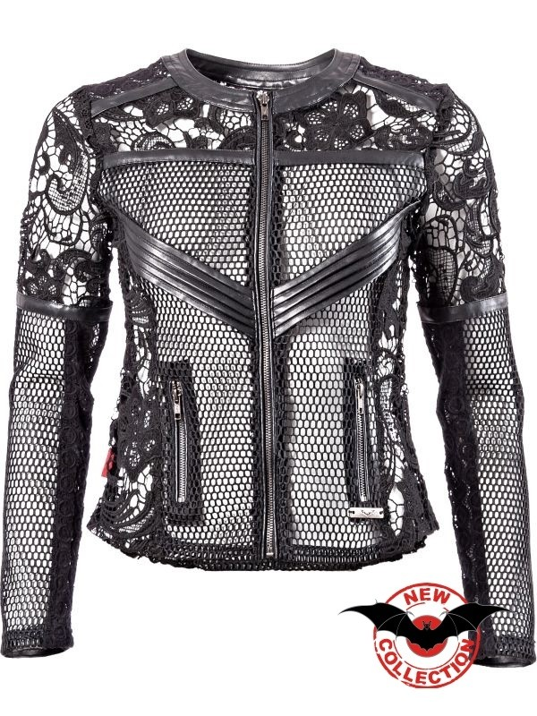 Jacket Net with lace and imitation Leather