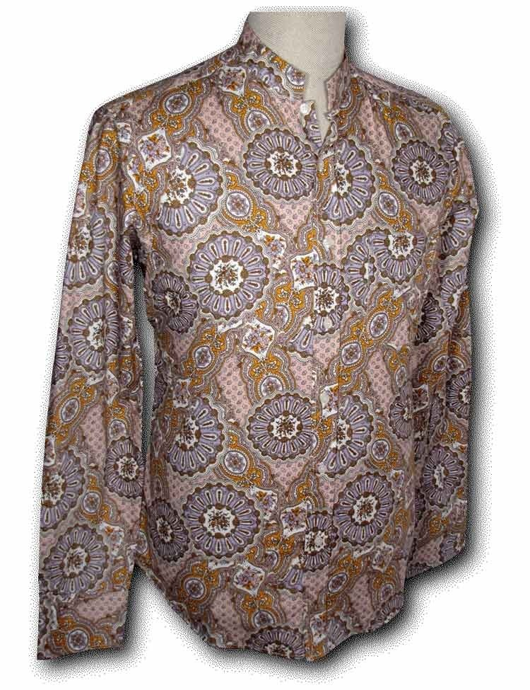 Overhemd Seventies Mao Paisley lilac