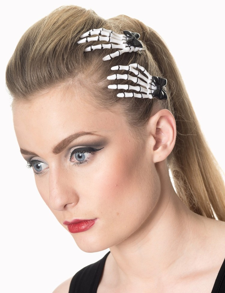 Haarclips met Skelethandjes Wit Zwart