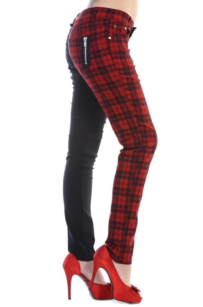 Skinny half zwart half rode Tartan