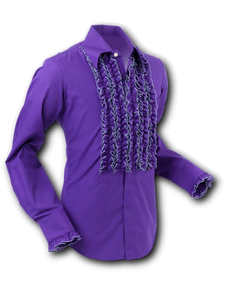 Overhemd ruche, dark violet grey trim