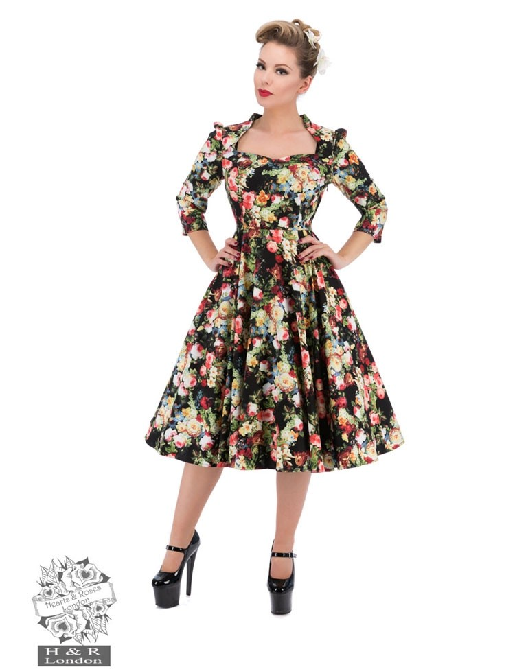 Jurk Thorny Rose Bloom 3/4 Sleeve Swing Dress