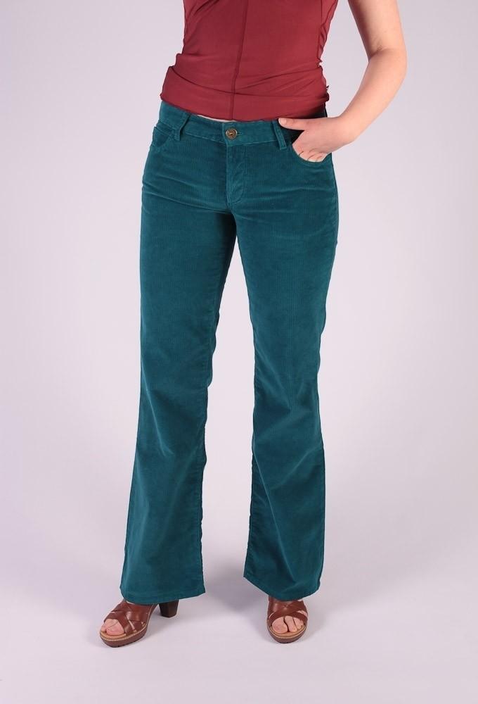 Ribcord broek met wijde pijp Newton Turquoise