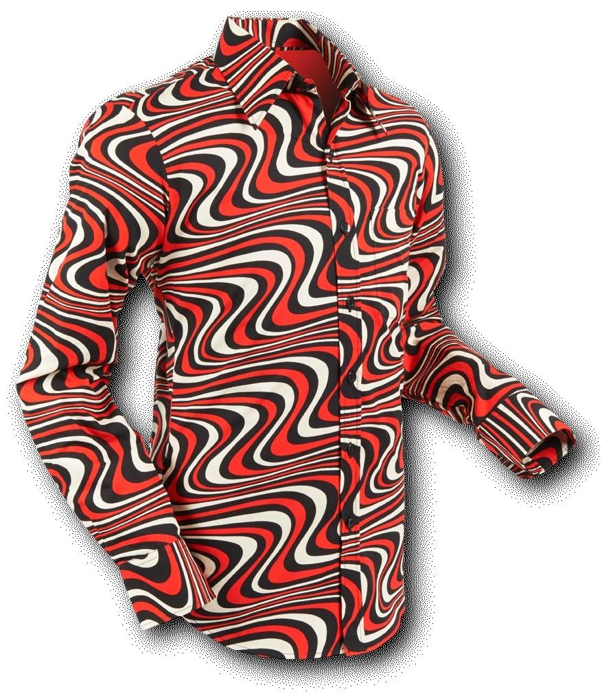 Chenaski | overhemd Seventies Wavyline Black Red Cream