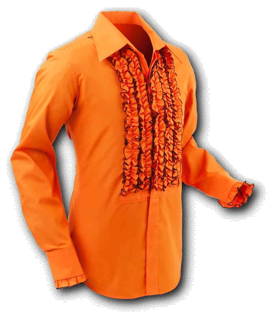 Overhemd ruche orange brown trim