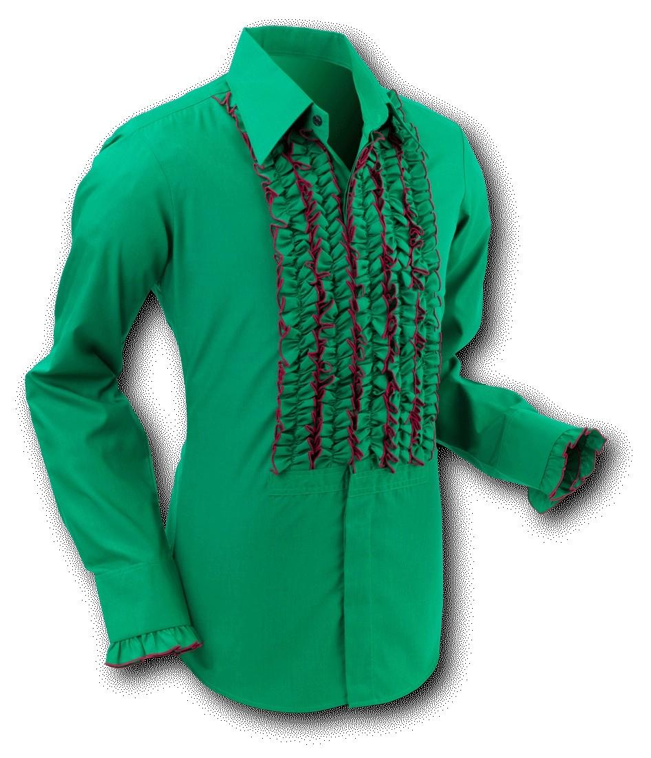 Overhemd ruche, green dark-red trim