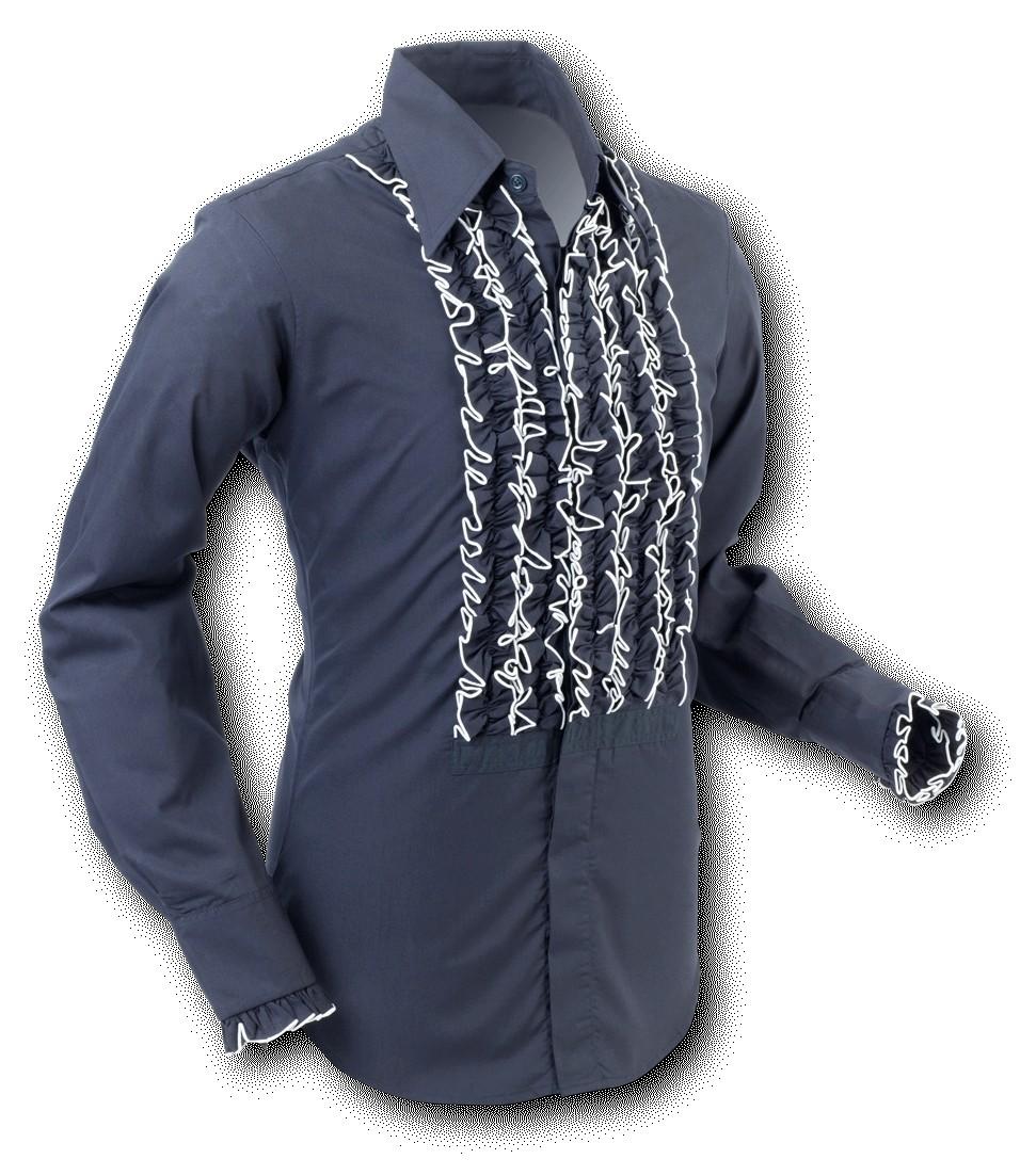 Chenaski | Overhemd ruche, black white trim