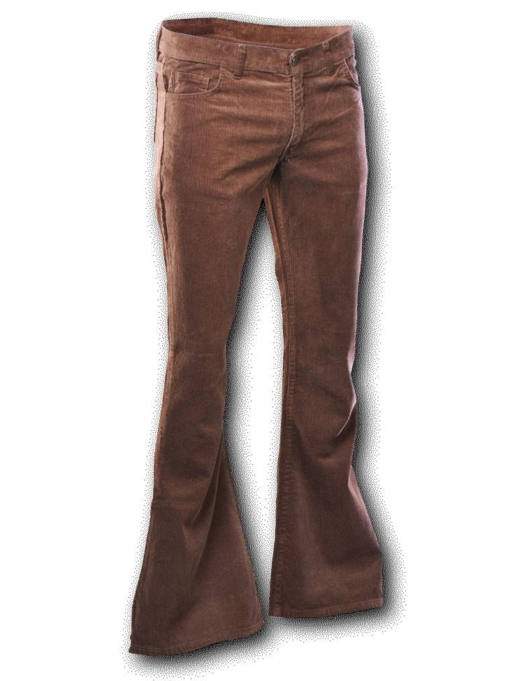 Ribcord retro broek bruin, wijde pijp lange lengte