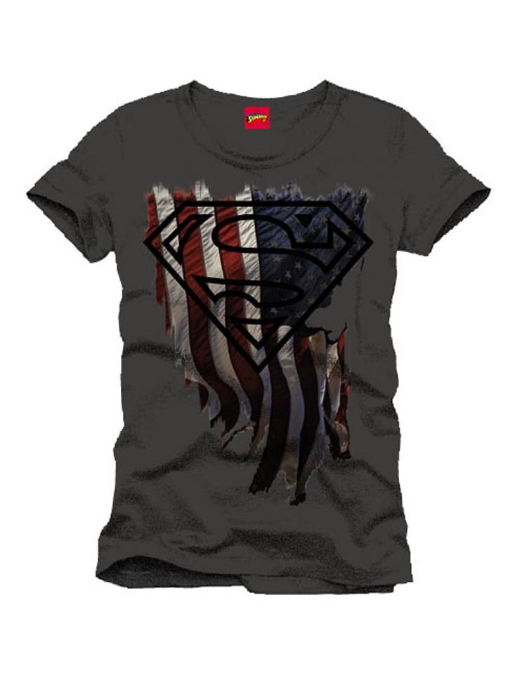 T-Shirt Superman Logo Distress Flag