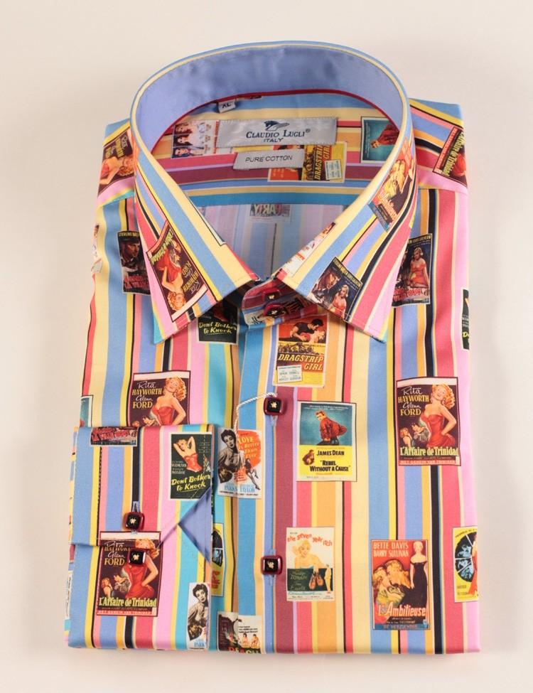 Overhemd Jaren 40 Film print op Pastel streep